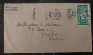 1947 Dublin Ireland Airmail Slogan Cancel Cover To Jerusalem Palestine MXE