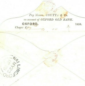 GB Cover Rare *OXFORD OLD BANK* 1d Stationery PTO 1858 {samwells-covers} EA115