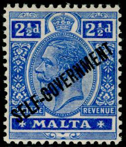 MALTA SG107, 2½d bright blue, LH MINT. Cat £17.