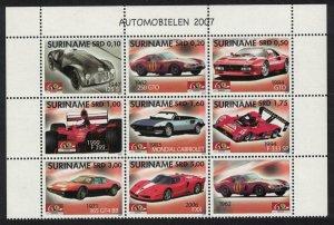 Suriname Ferrari Motor Cars Block of 8v+Label Type 1 SG#2254-2261
