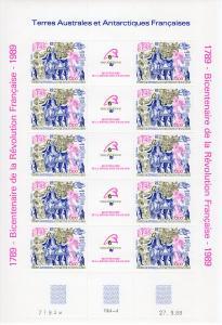 FSAT TAAF 1989 Sc#C106 FRENCH REVOLUTION BICENTENARY MINI-SHEETLET (10) Unfolded
