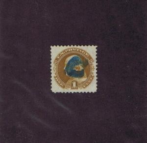 SC# 123 USED 1 CENT FRANKLIN, 1875, BLUE CANCEL, PF CERT GRADED VF XF 85