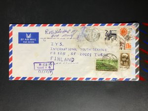 India Registered Cover to Finland City Cancel (1980s-1990s) Cover #2387