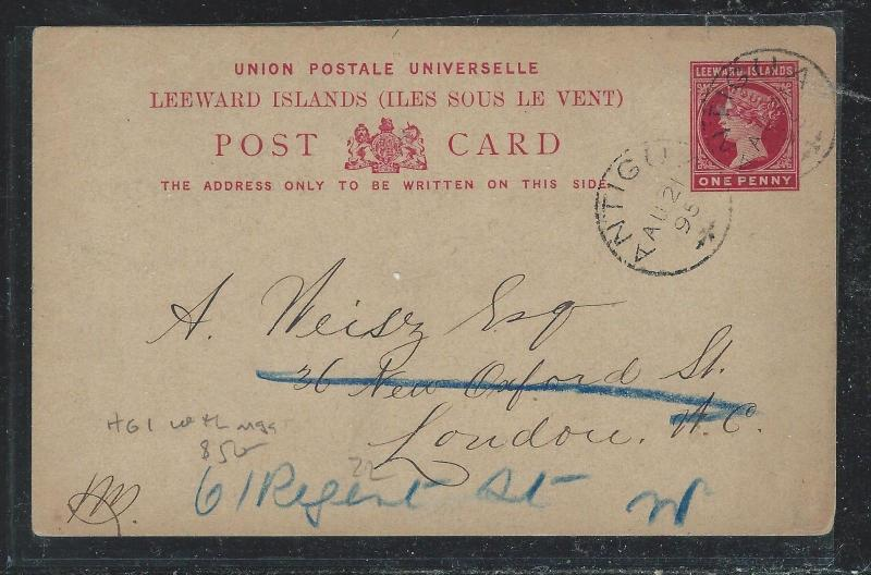LEEWARD ISLANDS (P2712B) 1895 QV 1D PSC FROM ANTIGUA TO LONDON WITH MSG