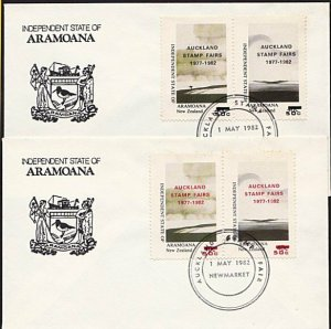 NEW ZEALAND ARAMOANA 1982 Stamp Fair opts red & black on covers.............9601
