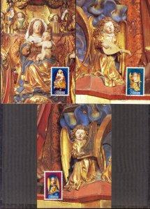 Liechtenstein 1982 Christmas 3 Maxi Cards FDC