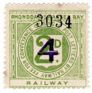 (I.B) Rhondda & Swansea Bay Railway : Letter Stamp 4d on 2d OP