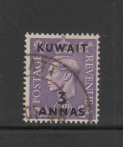 KUWAIT #77  1948  3a on 3p   KING GEORGE VI SURCHARGED   F-VF  USED   a