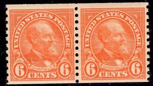 US Stamp #723 Coil Pair 6c Garfield MINT NH SCV $32.50