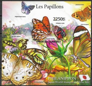 Comoro Islands MNH S/S Colorful Butterflies 2011