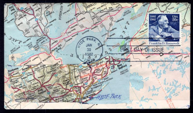 US 1950 Franklin D Roosevelt Map U/A FDC