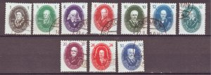 J22300 Jlstamp 1950 germany ddr set used #58-67 portraits a short perf 16pf