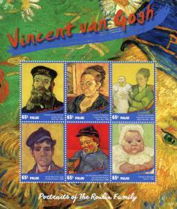Palau 2015 MNH Vincent Van Gogh Roulin Family Portraits 6v M/S Art Stamps