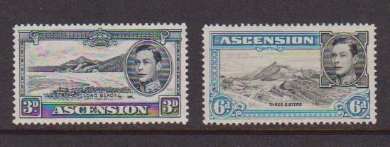 Ascension 1938 KGVI SG 42a (MNH, perf.13.5) and 43a (MH,perf.13)