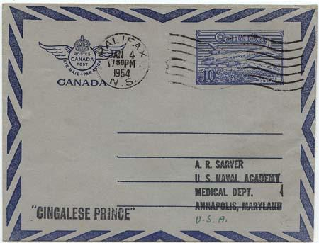 Canada to USA 10c Air Letter Sheet to US Naval Academy, Annapolis, Maryland VF