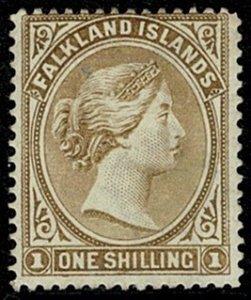 FALKLAND ISLANDS QV 1891-1902 1/- YELL-BROWN UNUSED (MH) SG38 Wmk.C CA P14 VGC