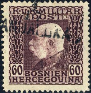 BOSNIE / BOSNIA / BOSNIEN - 1917 boxed K und K MILT. POST / BANJALUKA on Mi.78