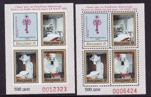 D1-Macedonia-Sc#RA28-31-two unused NH sheets,perf and imperf