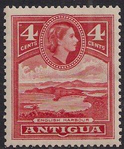 Antigua 1953 – 62 QE2 4ct Scarlet MM SG 124 ( L1366 )
