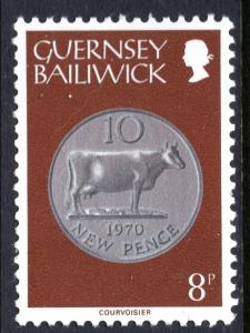 Guernsey 180 Coin on Stamp MNH VF