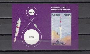 Nagaland, 1972 India Local. Moon Program, IMPERF s/sheet.