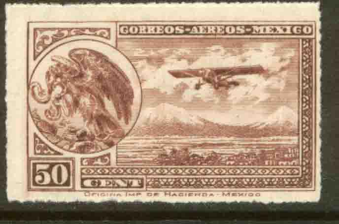 MEXICO C25, 50cts Early Air Mail Plane and coat of arms MNH