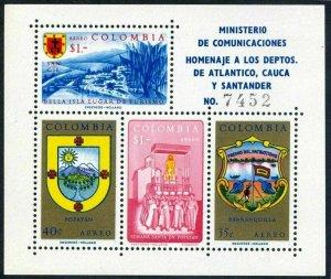 Colombia C409-C410,MNH.Michel Bl.23-24. Departments 1961.Atlantico,Cauca,