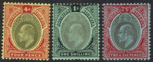 SOUTHERN NIGERIA 1907 KEVII 4D 1/- AND 2/6