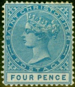 St Christopher 1879 4d Blue SG8 Fine Mtd Mint