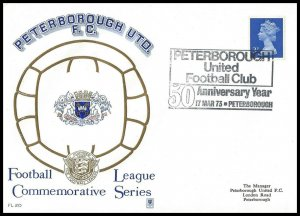 1973 Peterborough United FC 50th Anniversary Year Commemorative First day Cover