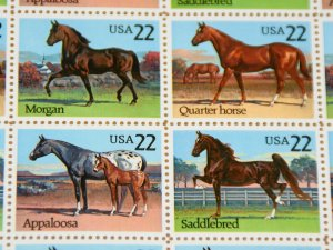 Full sheet of 1985 Horse postage stamps, Sc# 2155-8