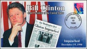 AO-3122, 1998, Bill Clinton, Event Cover, Add-on Cachet, Impeachment,