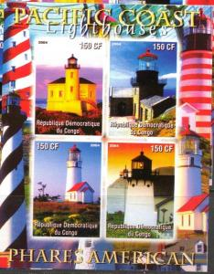 CONGO SHEET IMPERF LIGHTHOUSES