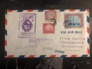 1930 USA First Flight cover FFC to Montevideo Uruguay FAM 9