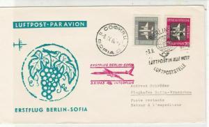 DDR 1963 1st Flight Berlin-Sofia Interflight Slogan Cancel Stamps Cover Ref26616