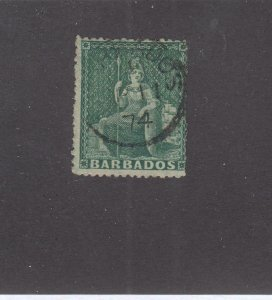 BARBADOS KK(89898) # 39 1/2p BLUE GREEN SON CANCEL CAT VALUE $27.50
