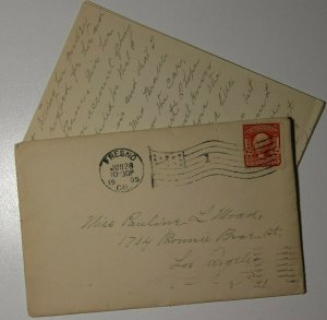 US Sc#319 Used On Cover Off Color Fresno CA 1905 Flag Cancel Letter Contents