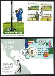 Isle of Man Golf 4v+MS 2 FDCs SG#755-MS759