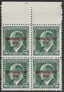 SLOVAKIA 1939 50h Overprinted President Benes Issue Block of 4 Sc 8 MNH