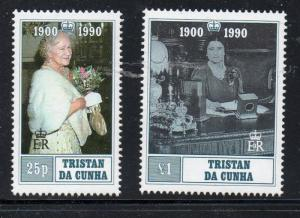 Tristan da Cunha Sc 480-1 1990 Queen Mother 90 stamp set mint NH