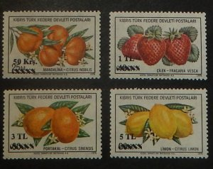 Northern Cyprus 66-69. 1979 Fruits Surcharges