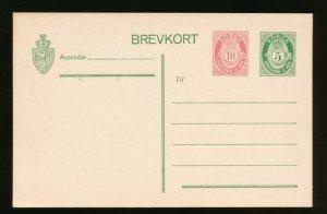 NORWAY Mi. P64 POSTAL STATIONERY POSTAL CARD 10o+5o