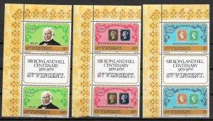 1979 St. Vincent #545-7 Rowland Hill Centennial MNH gutter pair C/S of 3