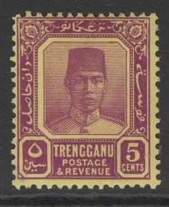 MALAYA TRENGGANU SG32 1926 5c PURPLE/YELLOW MTD MINT