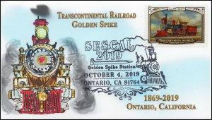 19-329, 2019, Transcontinental Railroad, Pictorial Postmark, Event,Ontario CA, E