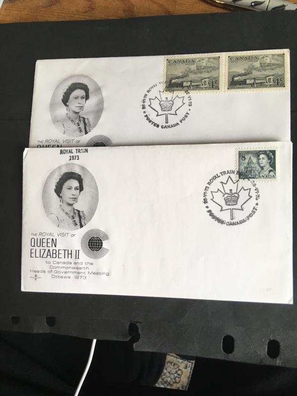 Canada 1973 Cacheted Royal Train Covers (2) Stamps Special Royal Train CancelsVF