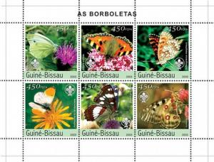 Guinea-Bissau MNH S/S Butterflies Insects 2003 6 Stamps