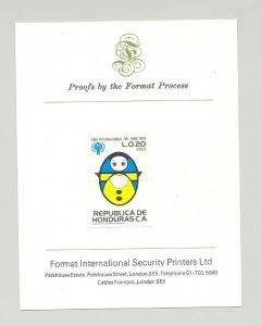 Honduras IYC 1v Essay Unnissued Design on Printer's Card
