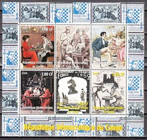 Congo Dem. Rep., 2000 issue. Old Chess Art, sheet of 9. ^