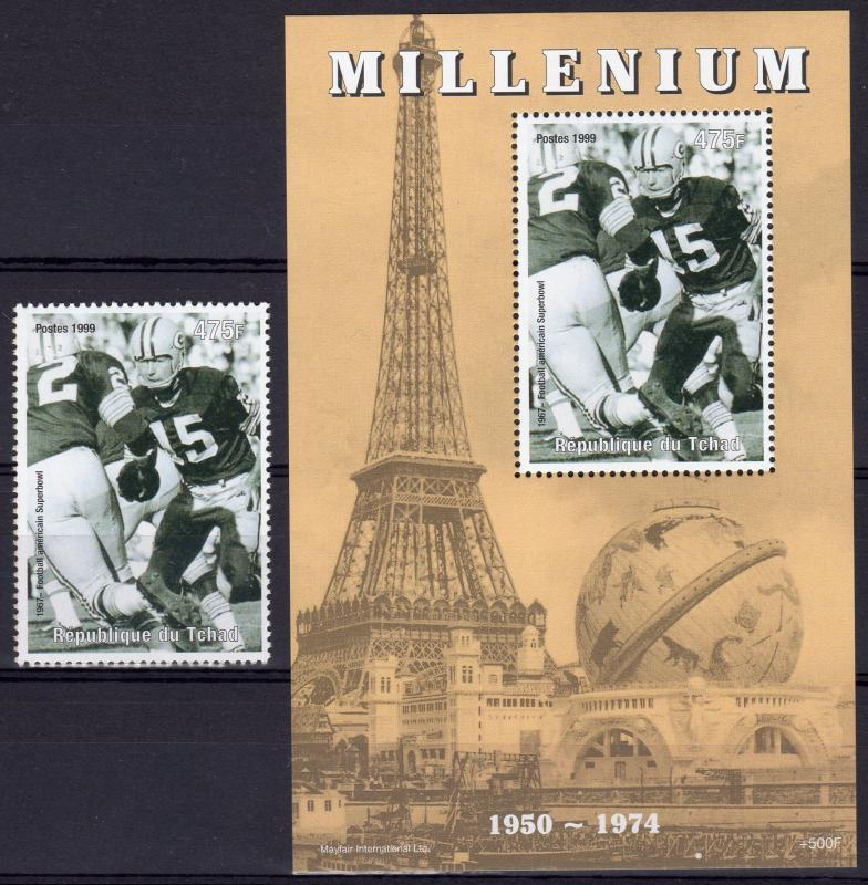 Chad 1999 Sc#809d SUPER BOWL (American Football) Set + S/S Perf.MNH
